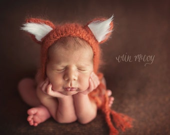 Newborn Fox Hat//Hand Knitted Baby Hat//Animal Hat//Newborn Props//Photography Props//Baby Gift//Hats for Babies//Newborn Hat//Knitted Hat