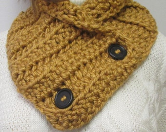 Gold Chunky Scarf, Winter Crochet Scarves, Winter Womans Scarf, Warm Crochet Scarves, Winter Chunky Scarf, Womans Scarves, Fabiana B1-006
