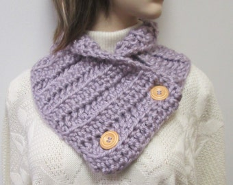 Light Purple Chunky Scarf, Fall Womans Scarves, Chunky Knit Cowl, Chunky Crochet Scarf, Winter Scarves, Gift For Her, Fabiana B1-004