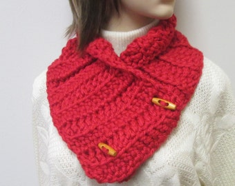 Red Chunky Scarf, Winter Scarves, Gift For Her, Winter Knit Scarves, Crochet Scarves, Winter Chunky Scarves, Fabiana B1-001