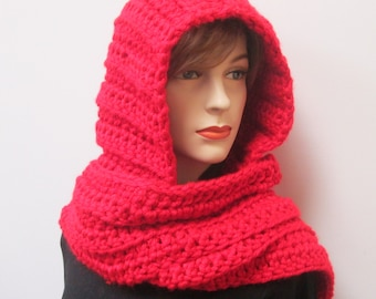 Red Womans Hooded Scarf, Large Scarf, Long Fall Scarves, Red Hooded Scarf, Hooded Scarf, Knit Scoodie Scarves, Elizabeth B3-032
