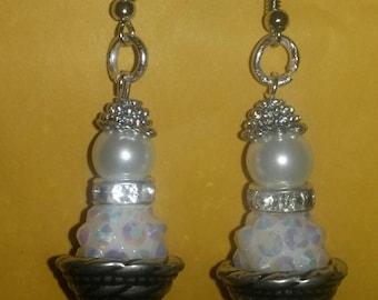 Shamballah and pearl dangle earrings