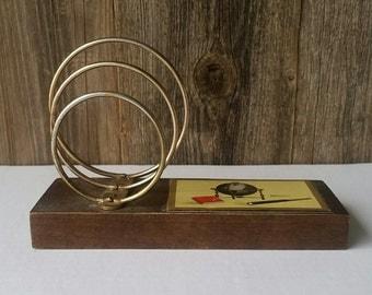 Vintage desk organizer, mail holder. Wood, metal. Japan.