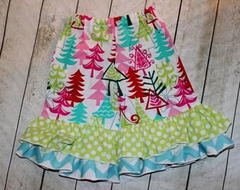 girls christmas ruffle pants toddler girl double ruffle pants Baby girl Red aqua pink and lime green chevron and polkadot ruffle pants