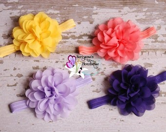 U Pick - Chiffon Lotus Flower Headband, Single Flower Headband, Flower Clip - Purple, Lavender, Yellow, Coral - SB-052
