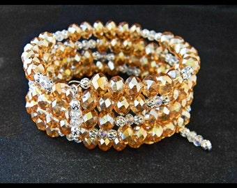 AB Medium Peach Glass Crystals Memory Wire Bracelet.