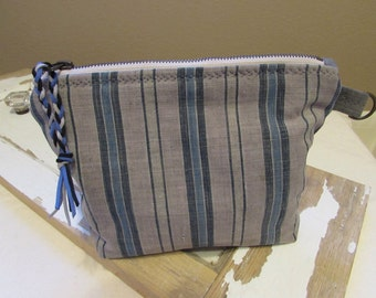 Vintage Homespun Ticking Handmade Zipper Clutch / Purse Pouch Make Up Bag Blues and Grays Boho