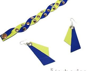 SALE! Leather bracelet + earrings