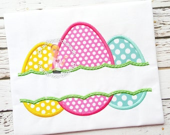 Split Easter Eggs Applique Design - Instant EMAIL With Download - 4 sizes - for Embroidery Machines