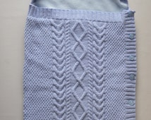 Baby Cocoon, Cable Knit Blanket, Sleeping Bag, Baby Snuggle Bag, Baby Bunting, Papoose, 0 to 9 Months, Swaddle Blanket