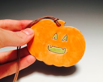 Jack O'Lantern pottery pendant necklace