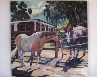 Horses Equine Oil Painting Two Pintos