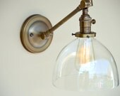 Sconce Lighting with Clear Glass Dome Shade Adjustable Arm Fixture