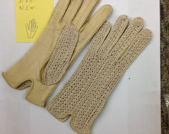 Vintage 1940's-50's cream crochet/leather driving gloves