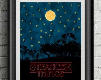 Stranger Things - Netflix Movie Film Poster Art Print Wall Decor Eggo Waffle 11 Eleven El Demogorgon Poster Motivational Movie Quote