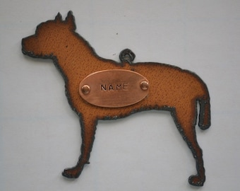PITBULL made of Rustic Rusty Rusted Recycled Metal Custom PERSONALIZED PITBULL / Pit Bull / Bull Terrier Ornament or Magnet