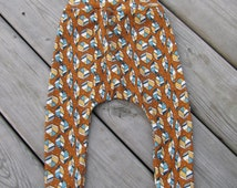 Harem Pants and Knot Hat Set - Gender Neutral Oufit Set - Organic Outift Set -  Picnic Whimsy Leaves Orange Birch Fabrics Organic