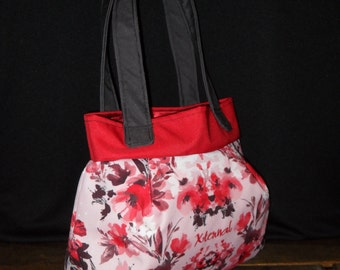Red Floral Purse Shoulder Bag, Pleated Purse with red, pink and white flowers