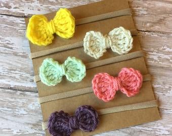 Crochet bow set, Hair clip, Spring