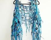 Multicolored Blue Felted Handwoven  Boho Scarf Boa  Fringe Tassels Shawl  Hippie Gypsy  Neck Wrapper Scarf