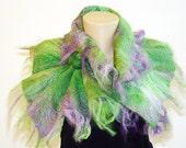 Green Lavender Nuno Felted Scarf Neckpiece Collar. Felted Wrap scarf. Chunky scarf Shibori Art