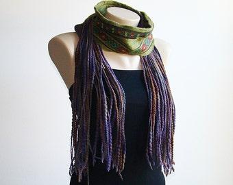 Felted Scarf Chunky scarf  Nuno felted scarf Felt scarf Fiber Art Wool Yarn Ruffle Boho Scarf Dreads