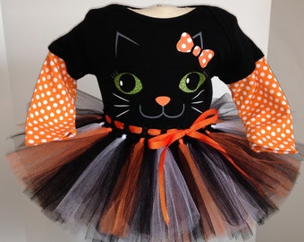 nb 0/3 3/6 6/9 12 18 months  orange Kitty Cat Face Onesie and Tutu outfit set for baby girl Halloween costume  m month size newborn