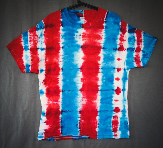 Tie Dye T-Shirt/Adult T-Shirt/Red White & Blue/ Short Sleeve/Unisex/Eco-Friendly Dying