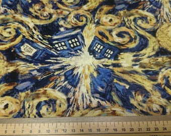 Doctor Who Van Gogh Exploding Tardis Fabric