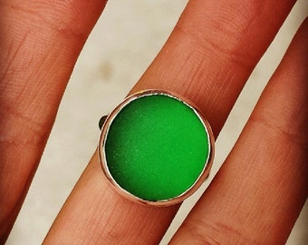 Green genuine sea glass and sterling silver ring