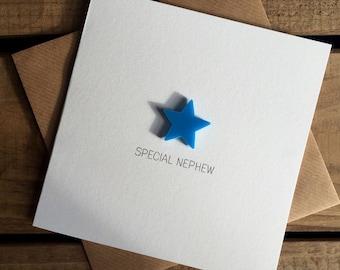 Special Nephew Card with Light Blue detachable magnet keepsake