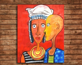 Fulani Couple at Parade day, Afrocentric Art Print, Tribal Art Print
