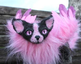 Poseable Winged Cat Ooak art doll