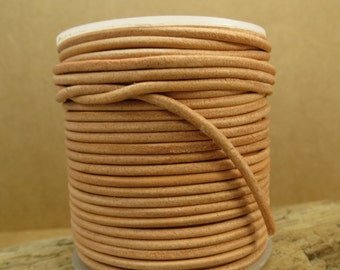 Natural Leather Cord, 2mm Tan Leather Cord, 25 Yard Spool, Leather Necklace Cord, Item 696c