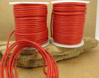 2mm Red Cord, Red Waxed Cotton Cord, 2mm Cotton Cord, 25 Meters Red Cord, Necklace Cord, Item 714c