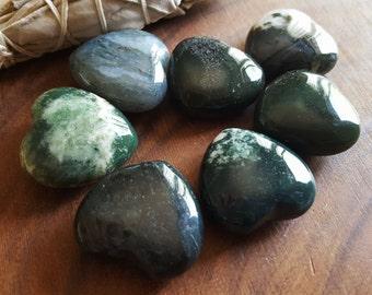 Moss Agate ~ One Reiki infused 30mm gemstone heart