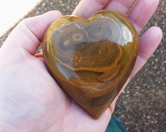 Pakistani Onyx Heart ~ One Reiki Infused gemstone heart approx 3 x 3 inches (E03)