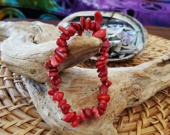 Red Coral stretchy bracelets ~ 1 Reiki infused gemstone chip bead bracelet