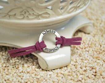 RESPECT Bracelet, Respect Affirmation Circle Bracelet, Inspirational Word Cord Bracelet,