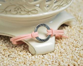 IMAGINE Bracelet - Inspirational word bracelet - metal affirmation ring with inspirational saying on cord bracelt