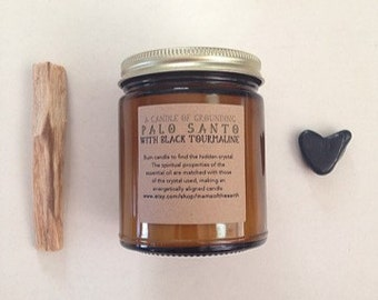 Palo Santo Essential Oil Soy Candle with Black Tourmaline ~ Aromatherapy Candle