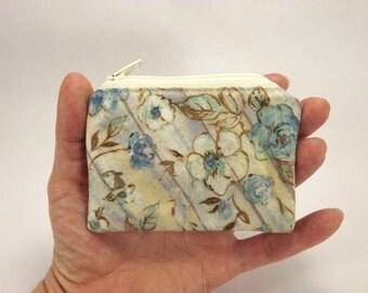 cornflower zipper pouch, blue cream floral coin purse, aqua blue cash wallet, mini change purse