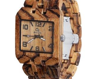 Wood Watch Handmade from Zebrawood {Wrangell}