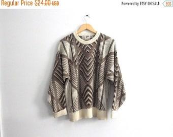 LAST CALL Vintage 80s Chevron & Diamond Sweater - Geometric Jumper by London Fog - Cream Brown Taupe - Crew Neck - Wool Blend - Large L Xl B