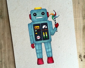 Robot Holding Pinwheel, original drawing