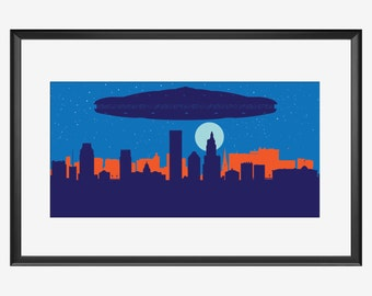 Providence Skyline print, Ufos print, Ufos poster, Aliens print, Providence Rhode Island, Providence print, independence day inspired print