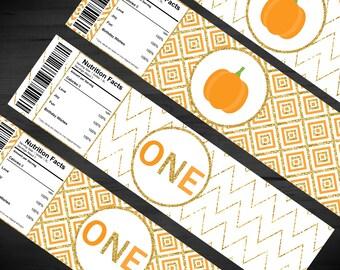 Pumpkin Birthday Water Bottle Labels - Our Little Pumpkin is Turning ONE - Orange - Gold Glitter - First Birthday - Chevron - 2 x 8 Inches