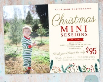 Christmas Mini Session Template - Christmas Photography Marketing - Photoshop template - IC028 - INSTANT DOWNLOAD