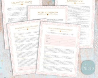 Newborn Photography Contract & Forms Bundle Templates - Photoshop Download -  NG033 - INSTANT Download