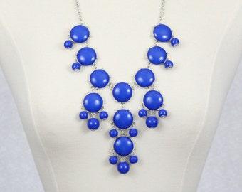 Bubble Necklace Statement Bib Necklace Blue